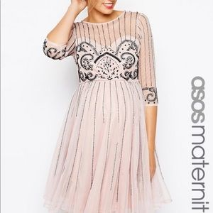ASOS maternity beaded cocktail dress